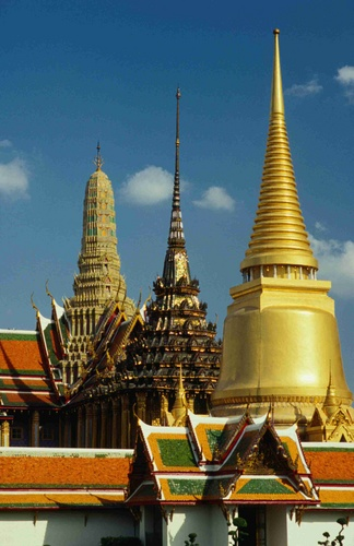 The differing architectural spires at Wat Phra Kaew