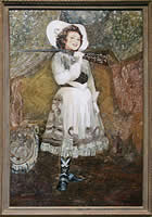 Painting of Ethel Merman as Annie Oakley
