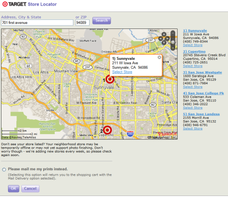 Screenshot of Target Store Locator