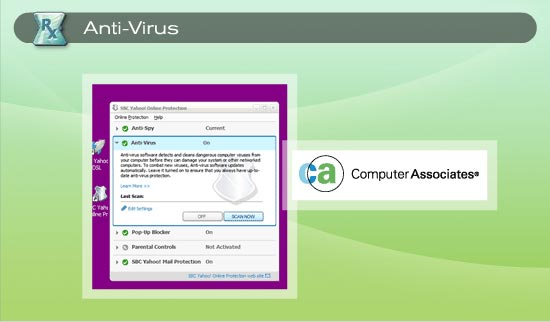 Anti-Virus by Computer Associates helps to guard your computer from the threat of viruses. 