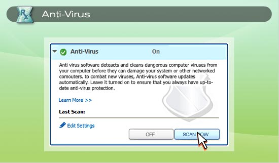 Turn Anti-Virus protection on from the Online Protection Dashboard and it automatically scans any new files transferred onto your computer. 