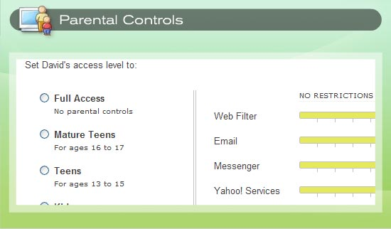 Parental Controls includes different default restrictions for different age groups.