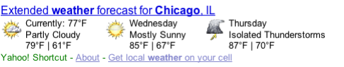 Yahoo! Shortcut - Chicago Weather