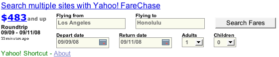 Yahoo! Shortcut - Flights from Los Angeles to Honolulu
