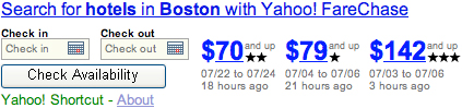 Yahoo! Shortcut - Compare Boston Hotels