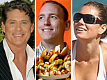 David Hasselhoff (NBC Photo/Chris Haston); Joey Chestnut (AP Photo/Tony Avelar); Jessica Biel('THE 9')