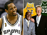San Antonio Spur Robert Horry, Hall of Famers Magic Johnson and Larry Bird (Getty Images)