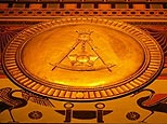 The Masonic square and compasses symbol is seen on the main floor wall frieze, on 19 November, at the headquarters of the Scottish Rite of Freemasonry, Southern jurisdiction, in Washington, DC.(AFP)