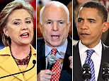 Hillary Clinton (Chris Hondros/Getty Images); John McCain (AP); Barack Obama (Scott Olson/Getty Images)